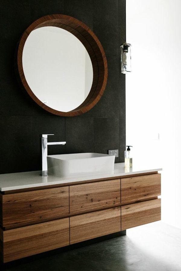 modernes badezimmer runder wandspiegel rustikal weißes waschbecken - spiegel badezimmer mit beleuchtung