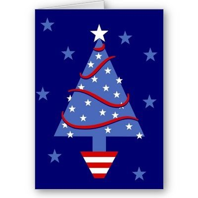 patriotic christmas tree greeting card - Patriotic Christmas Cards