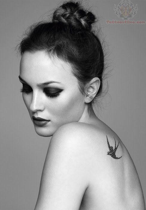 Swallow Black Ink Tattoo On Girl Back Shoulder