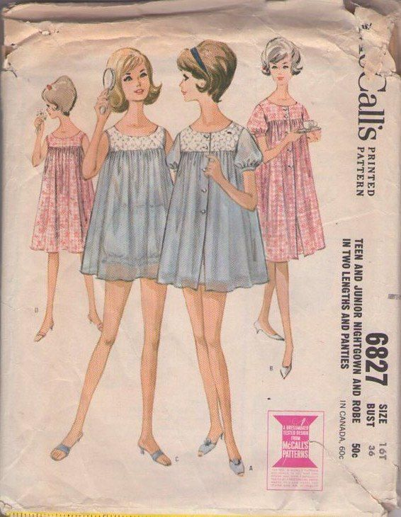 93e27adc6f MOMSPatterns Vintage Sewing Patterns - McCall s 6827 Vintage 60 s Sewing  Pattern ADORABLE Sandra Dee Grease Slumber Party Flared Chiffon Shortie  Nightgown