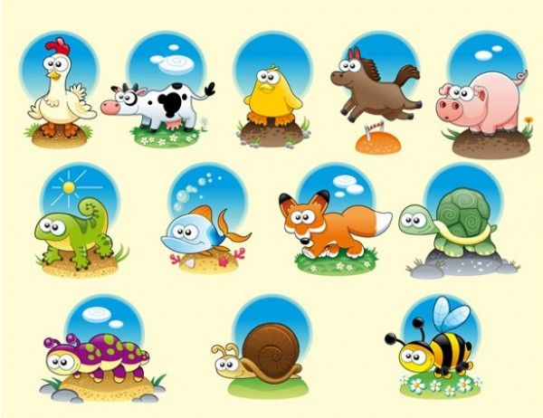 12 Cute Cartoon Animals Vector Set - http://www.dawnbrushes.com/12-cute-cartoon-animals-vector-set/