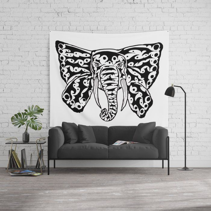 Black and White Elephant Butterfly Tribal Tattoo Wall Tapestry – ZeichenbloQ