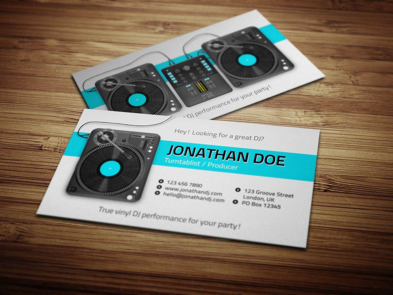 Turntablist dj business card by iamvinyljunkie business for Dj business card template