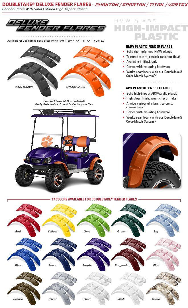 Doubletake Golf Car Deluxe Fender Flares Club Car Golf Cart Accessories Club Car Golf Cart Ezgo Golf Cart