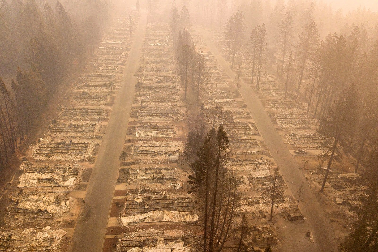 A Neighborhood Burned From Wildfires In Paradise California On