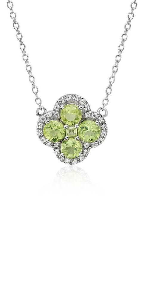 Blue Nile Peridot and White Topaz Dangle Pendant in Sterling Silver (12x8mm)
