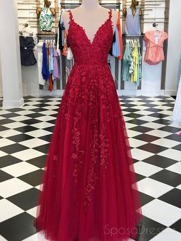 7e9fc82b7829 Spaghetti Straps Lace Dark Red Cheap Long Evening Prom Dresses, Cheap  Custom Sweet 16 Dresses