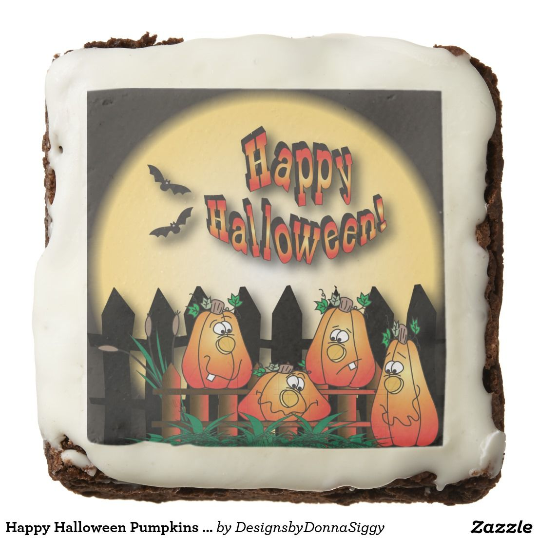 Happy #Halloween #Pumpkins on a Fence Square #Brownie #treats #shopping #party #gifts