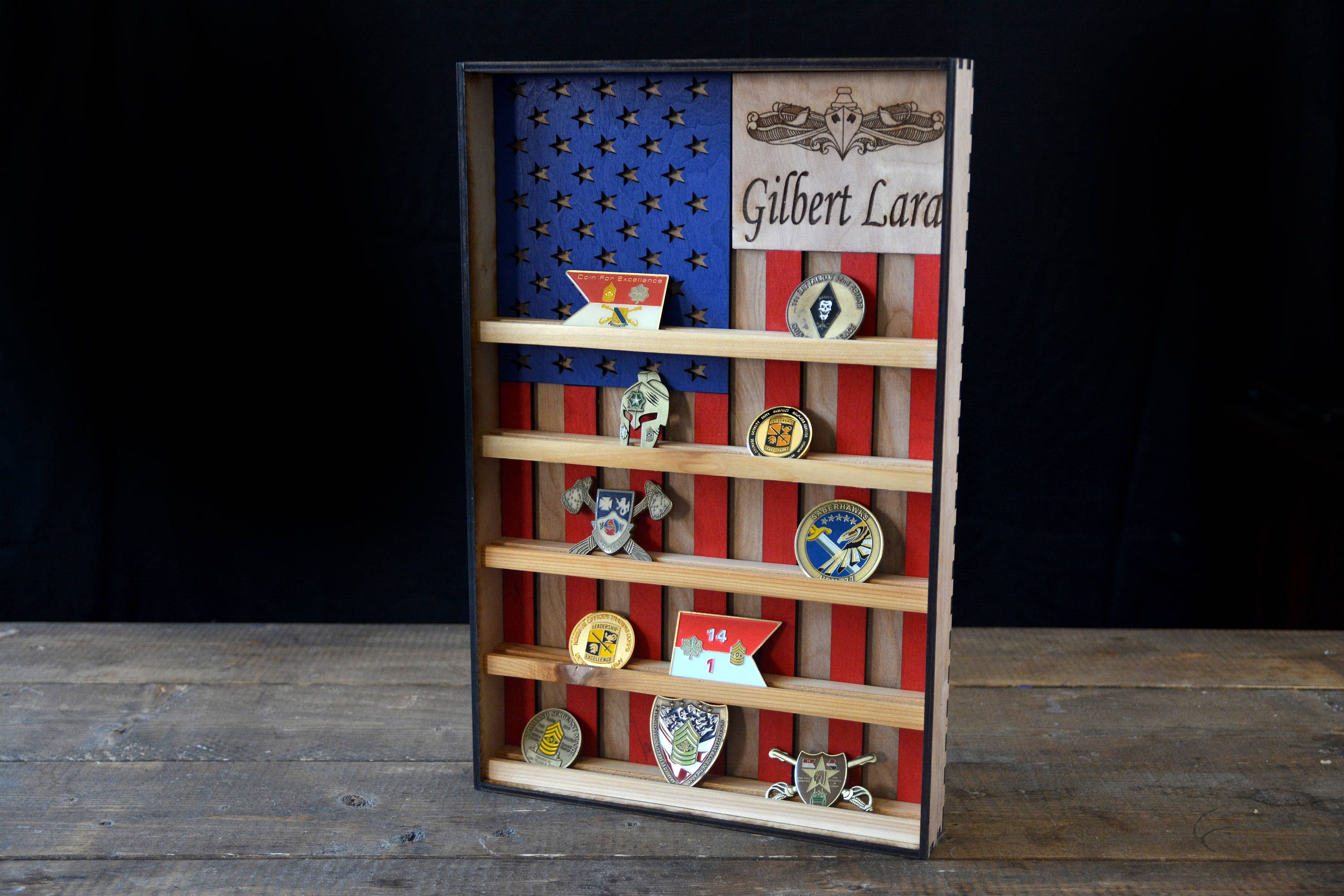 4ee157d11545 Check out our new Red White and Natural custom coin holder!  militarygift   americanflag  retirement  militarypcs  warfighter  forourbrothers