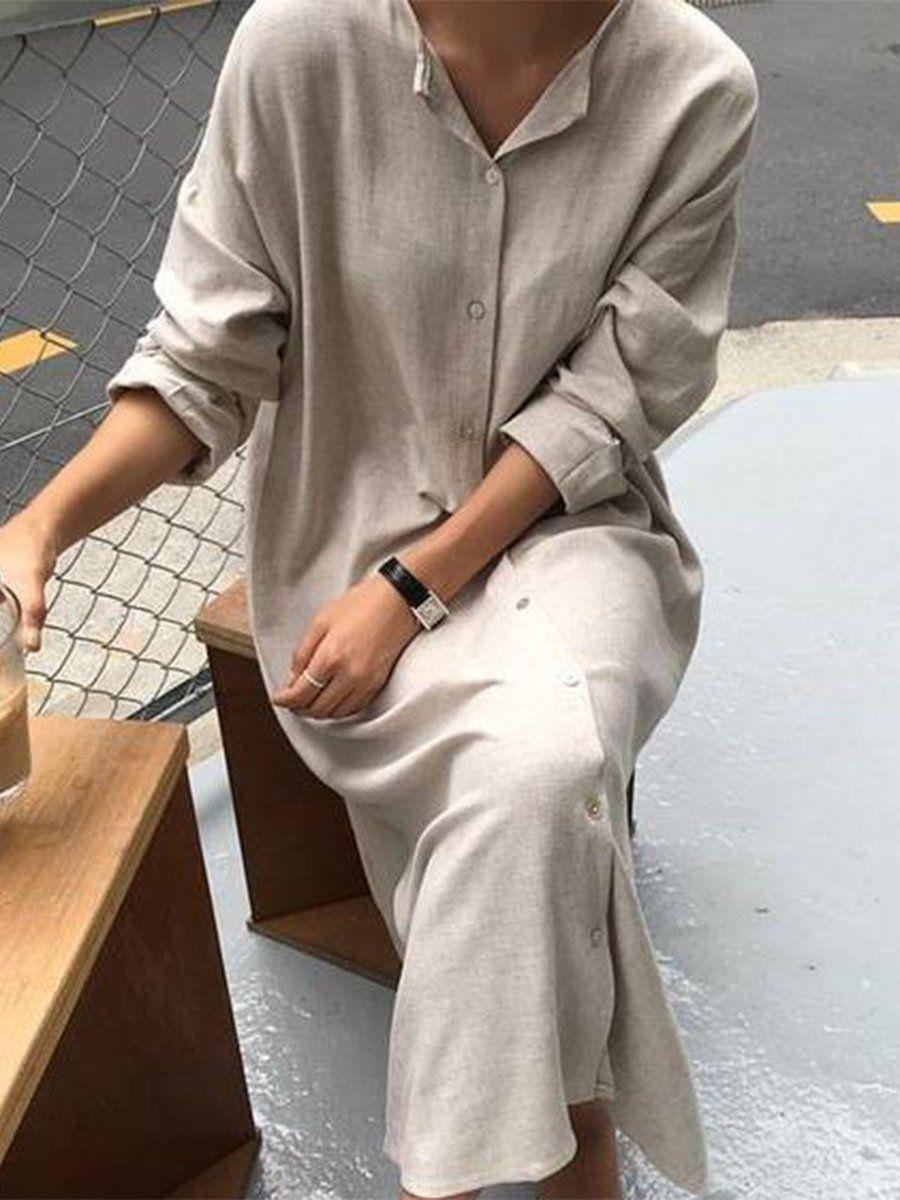 Long Sleeve Solid Casual V Neck Dresses Maxi Dress Cotton Maxi Dresses Casual Long Dress Casual [ 1200 x 900 Pixel ]
