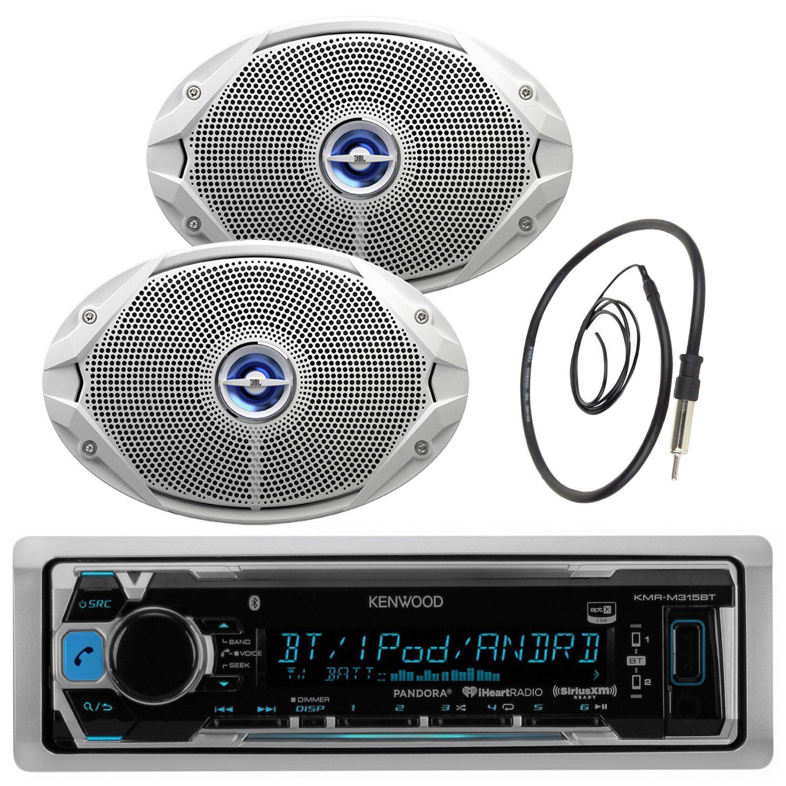 Kenwood Bluetooth USB CD iPod Radio 2-Enrock 2-Way 6x9 White Marine Speaker Set