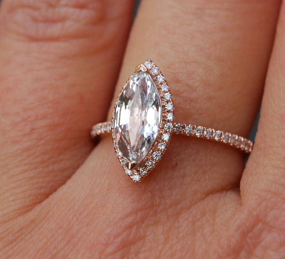 Marquise Engagement Ring Rose Gold Engagement Ring With White