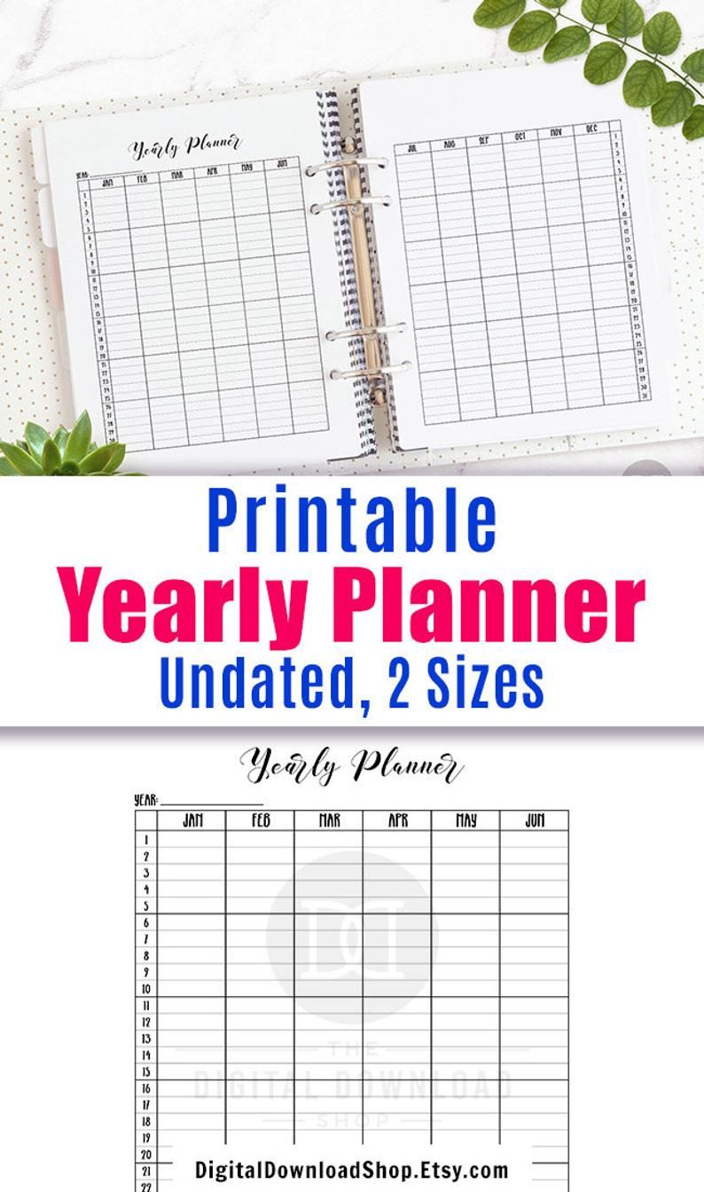 Yearly Planner Printable Vertical Year At A Glance Printable
