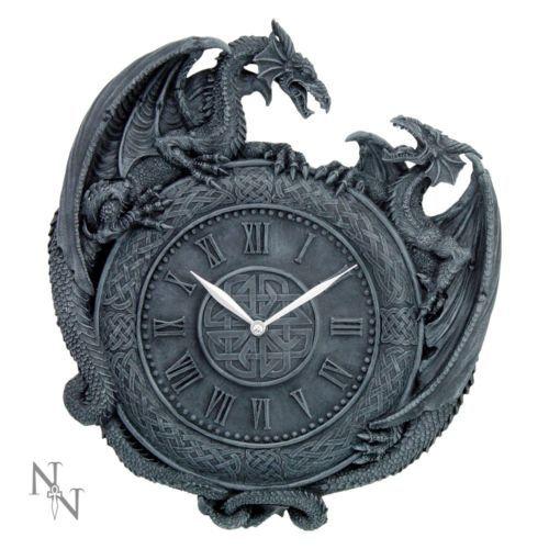 Nemesis Now Dragon Duel Wall Clock 28cm Celtic Gothic Fantasy Alternative Gift