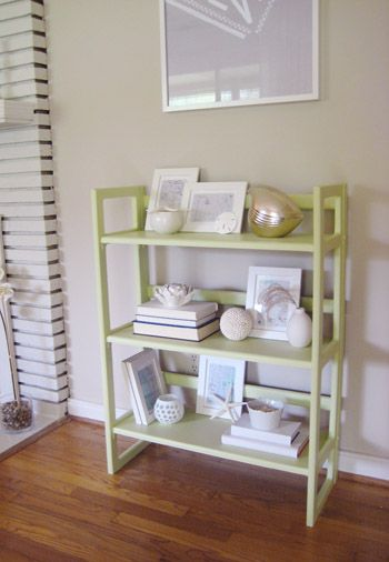 How We Painted An Old Wooden Bookcase A Soft Green Color