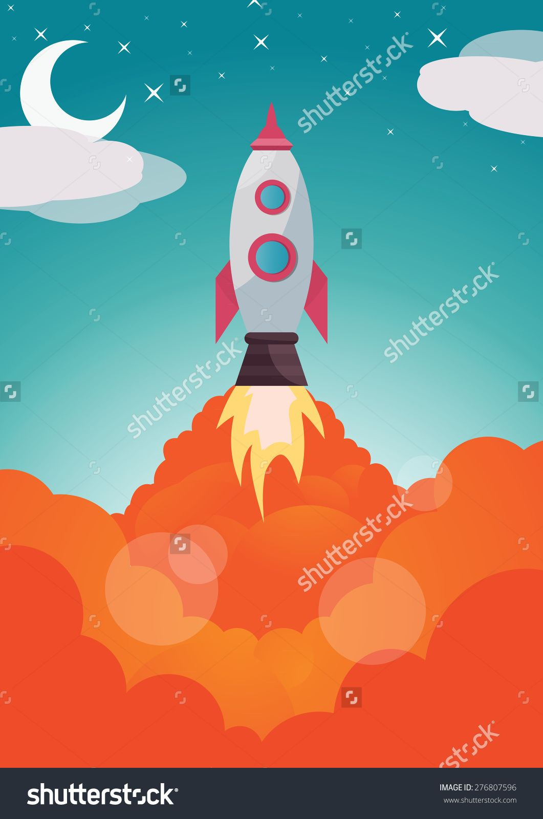Vector Image Of A Space Shuttle Launch Stock Vector