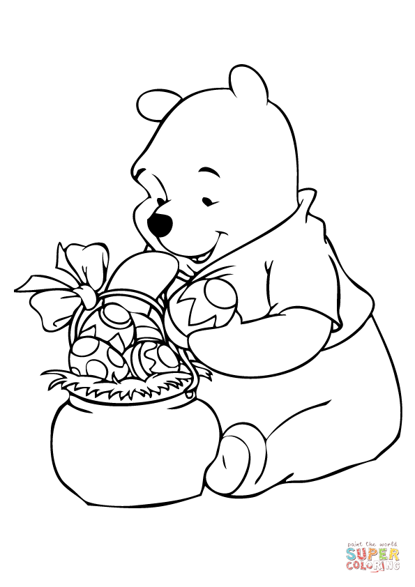 Winnie With Easter Basket Super Coloring Ostern Farben Schone Osterbilder Ausmalen