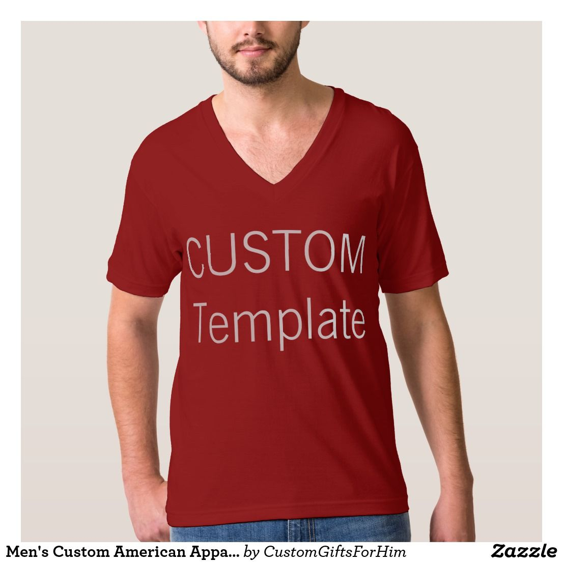 Zazzle t shirt design template - Men S Custom American Apparel V Neck T Shirt Red