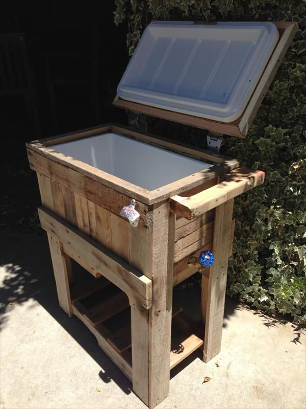 DIY Rustic Outdoor Pallet Cooler Pallet Furniture DIY Camping