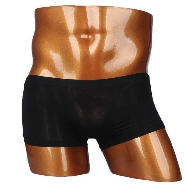 46b4590991cb Sexy Mens Underwear Ice Silk Boxers Men U Convex Pouch Shorts Cueca Boxers  Homme Seamless Male