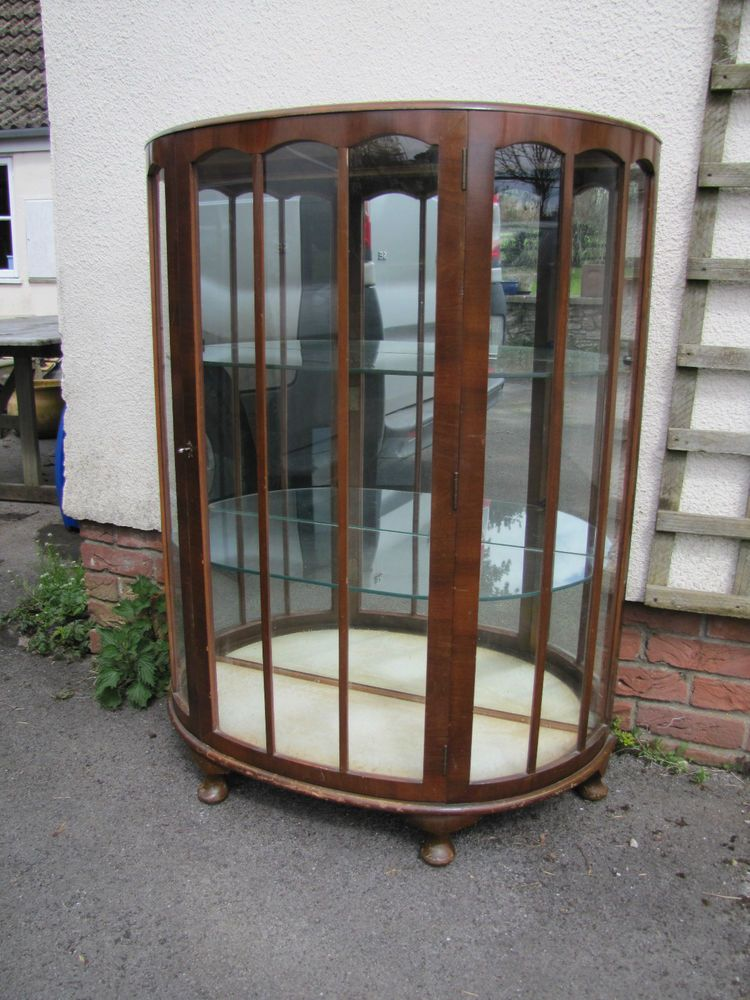 Antique Walnut Bow Front China Cabinet 1930's/40's Display Cabinet Mirror  Back - Antique Walnut Bow Front China Cabinet 1930's/40's Display Cabinet