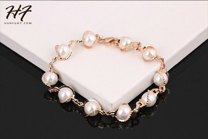 Top Quality Real Gold Plated Imitation Pearl Charm Bracelet Fashion Jewelry Wholesale New For Women H171 H178