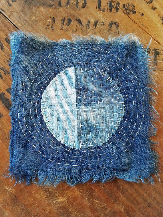 Japanese Boro Sashiko Slow Stitch mending patch Natural ...