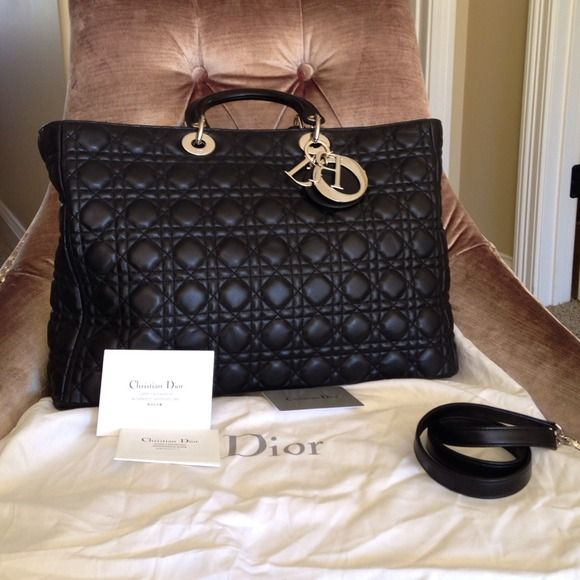 a94c86b1f1298 Dior Lady Dior Extra Large Shopping Lambskin Bag New! Stunning! Never used.  It comes only with the dust bag. Negotiation only occurs through the offer  ...