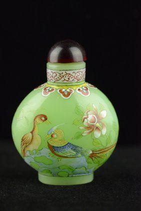 Chinese Peking Glass Snuff Bottle Painted Birds : Lot 349