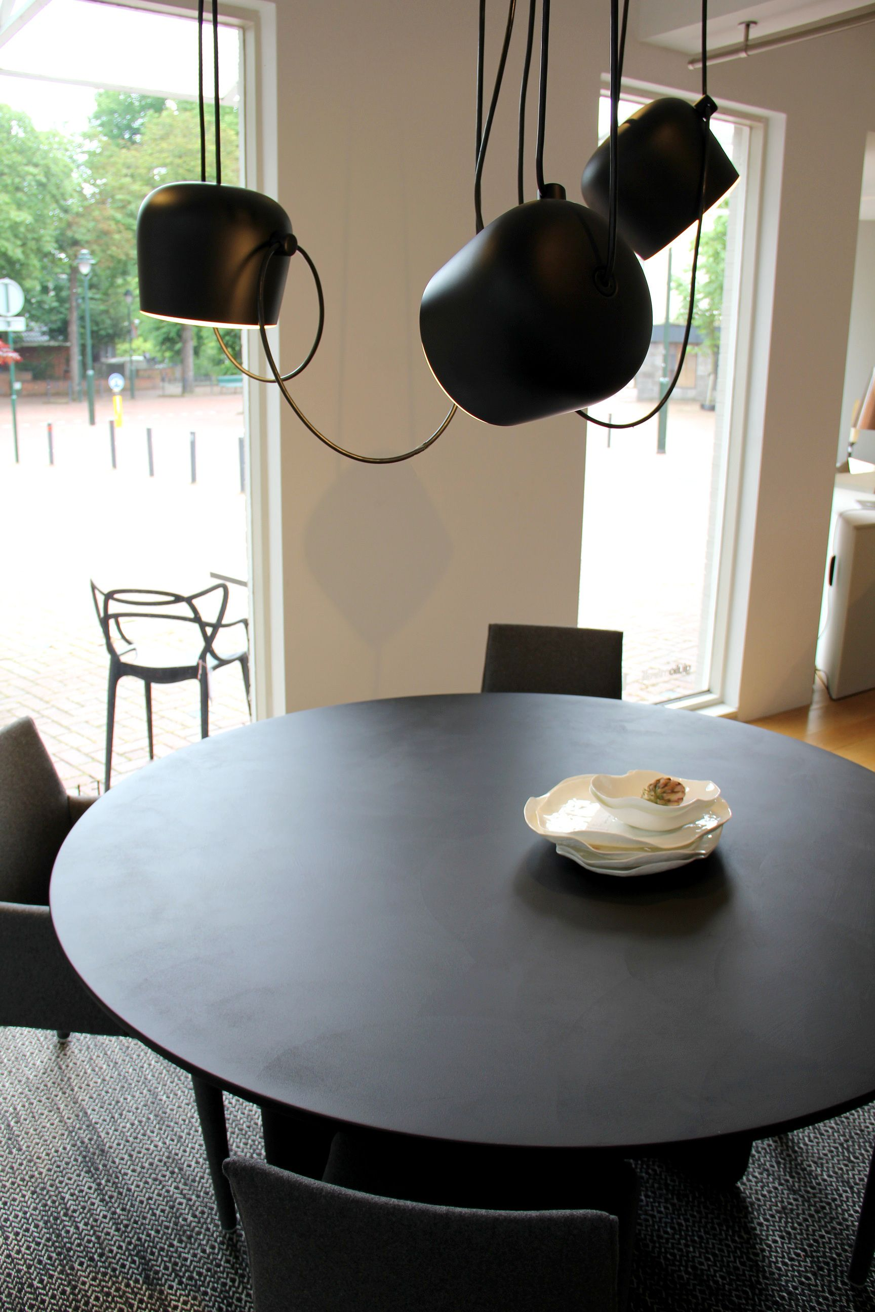 Hanging Lamps Aim Black By FLOS. Table Tobi Ishi And Vol Au Vent Dining  Chairs By BB Italia.