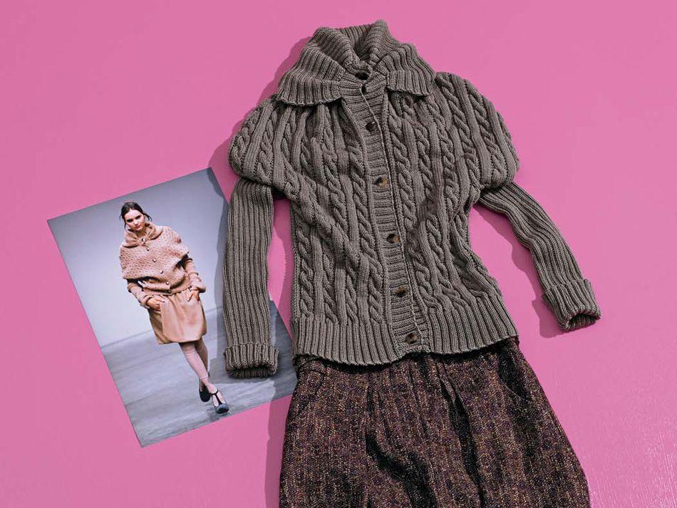 Diese Jacke mit Zopfmuster im Stil von Sinibaldi ist ein ideales Modell für Geübte. Hier finden Sie unsere kostenlose Anleitung.