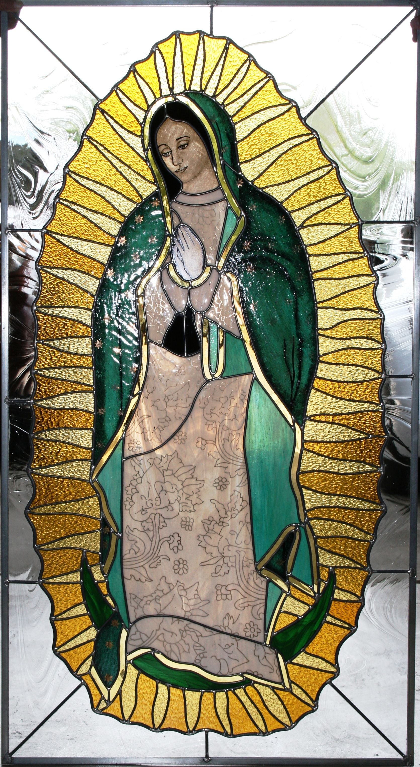 Stained glass virgen de guadalupe stained glass for Tattoo shops in mcallen