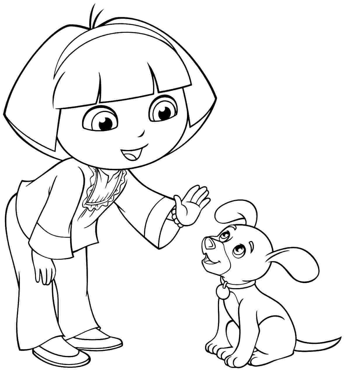 Dora And Puppy Coloring Page For Girls With Images
