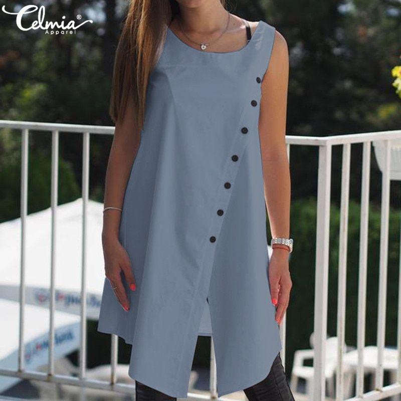 2019 Celmia Vintage Blouses Women Asymmetrical Tunic Tops Summer Sleeveless Buttons Casual Split Long Shirts Plus Size Blusa Blusas Mujer Blusas Camisas Blusas