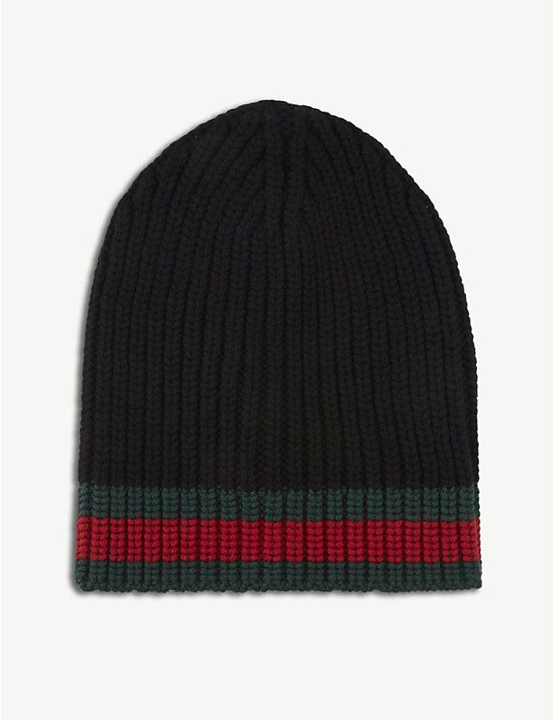 bd4cd1a34e1f0 Gucci Striped knitted wool beanie  Gucci  caps  hats  ShopStyle   MyShopStyle click link for more information or to see other Caps and Hats