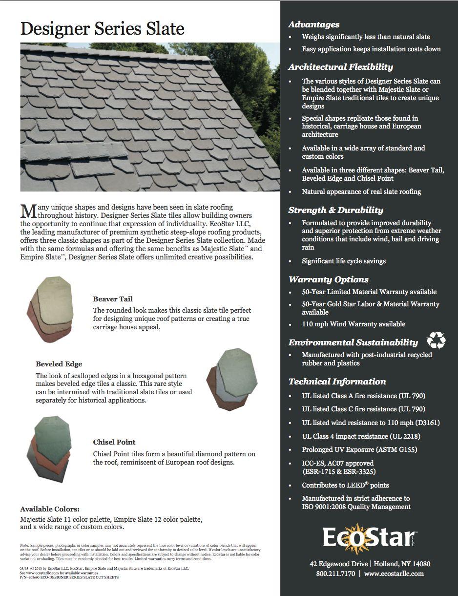 EcoStar Designer Series Traditional tile, Design, New