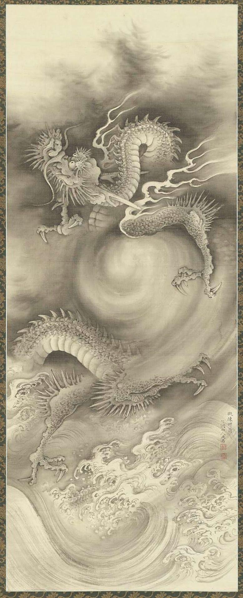 NAKABAYASHI Chikutō(中林 竹洞 Japanese, 1776-1853) Dragons 1 雲龍図 Hanging scroll; ink on silk