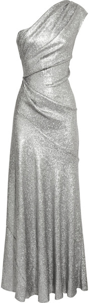DONNA KARAN NEWYORK One Shoulder Sequined Stretch Mesh Gown