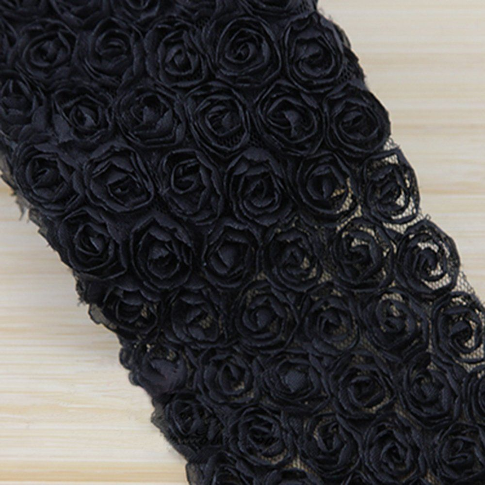 3D Floral Embroidered Lace Ribbon for Hair Ornament Accessories Bow and Sewing Craft 3.5' Wide 13 Colors for selection (Black) * Want additional info? Click on the image.
