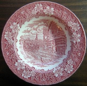 Red Pink Toile Carriage Woman Geese Leaf 3-D Flat Bowl