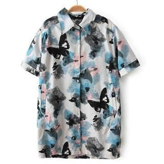 Buy 'Flower Idea – Short-Sleeve Butterfly-Print Shirt' with Free International Shipping at YesStyle.com. Browse and shop for thousands of Asian fashion items from China and more!