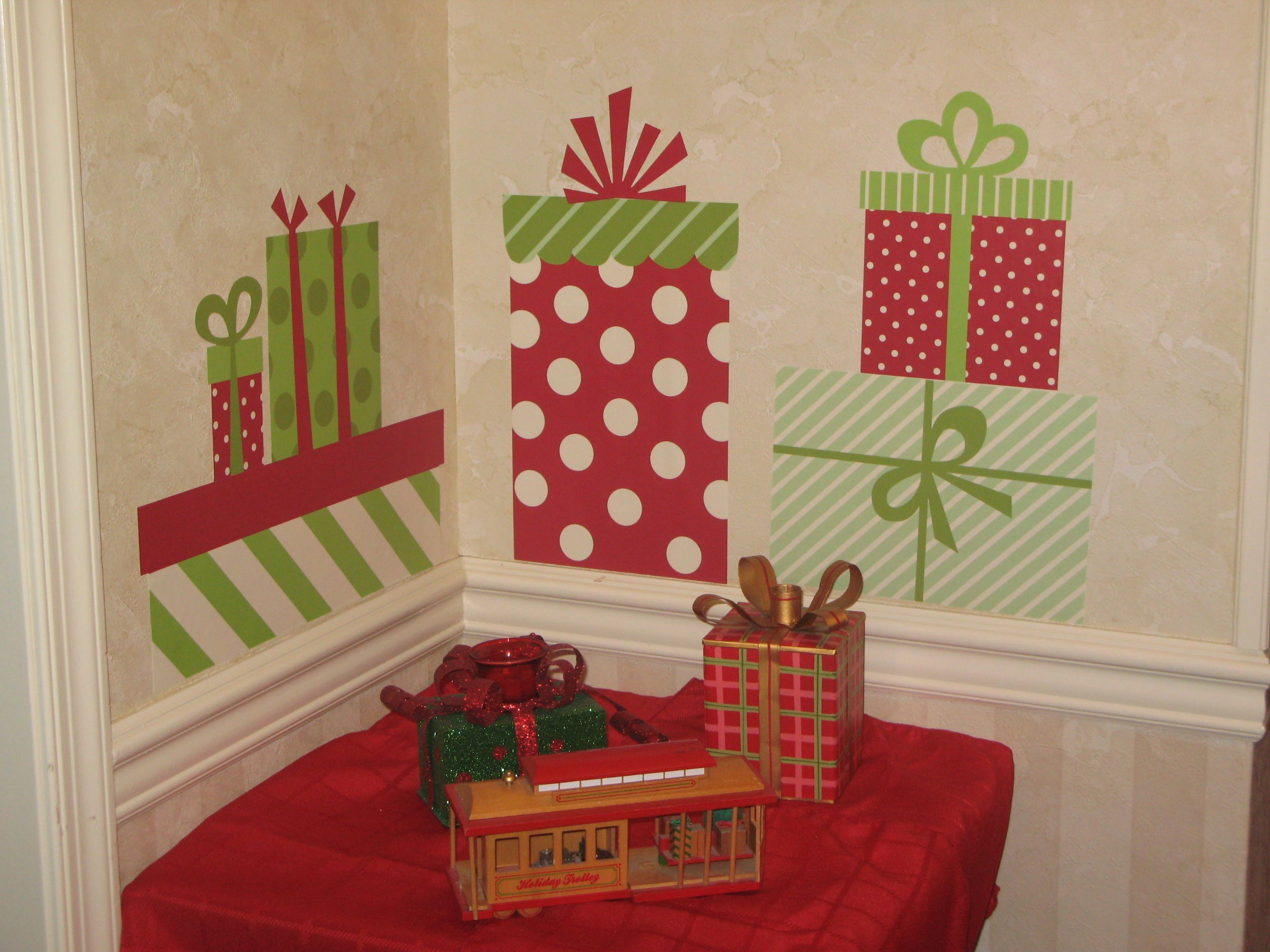 homemade christmas wall decorations wall christmas presents decoration ideas diy christmas wall