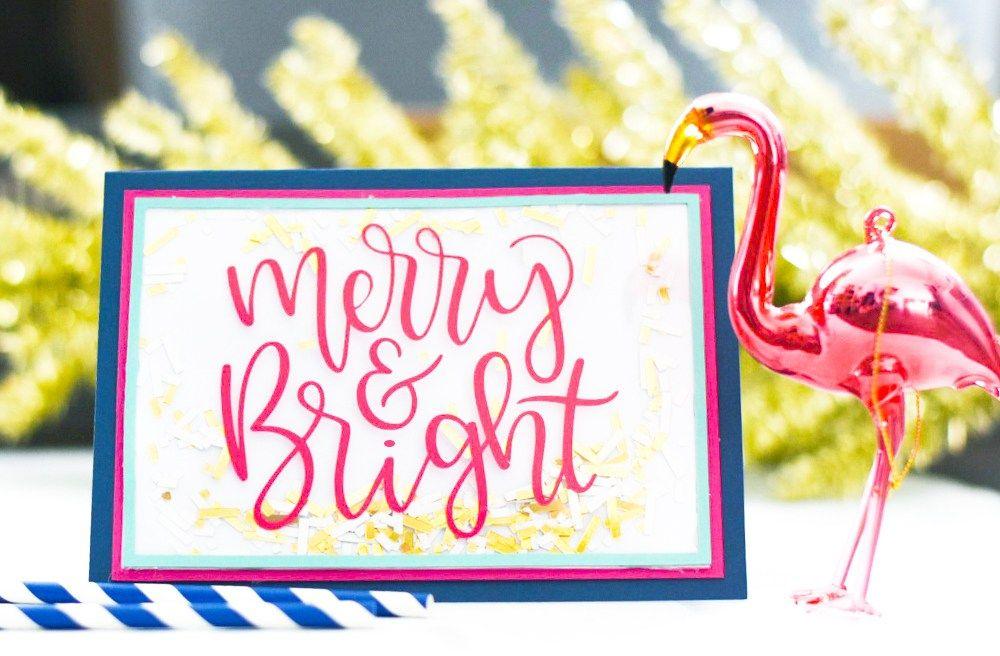 Make Handmade Christmas Cards with your Cricut Maker by Pineapple Paper Co. #handmadechristmas #diyyourholiday #cricut #cricutmade #ad #holidaycards #christmascardideas #merryandbright #mostwonderfultimeoftheyear #cricutdesignspace #buffaloplaid #christmasflamingo