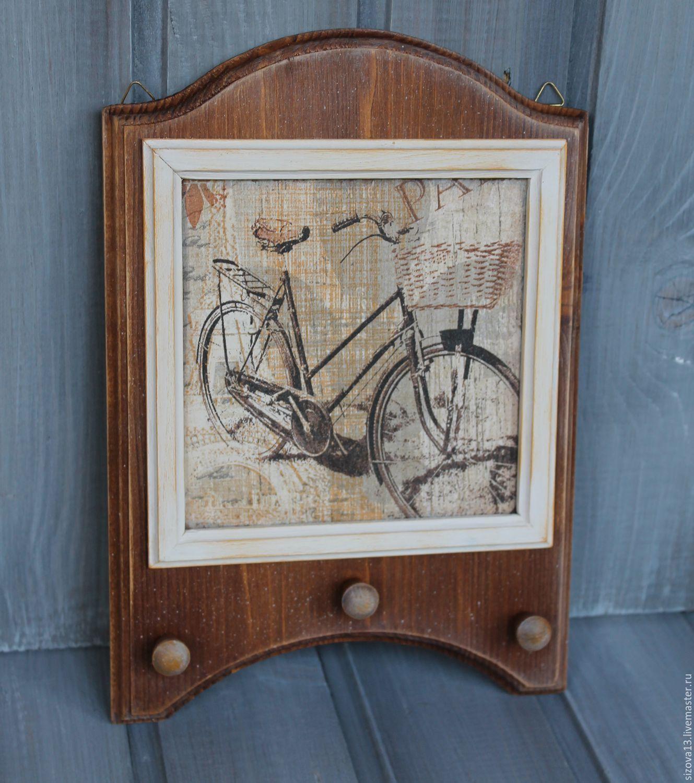 """Купить Деревянная настенная ключница """"Велосипед"""" - коричневый, ключница, ключница ручной работы, Ключница декупаж"""