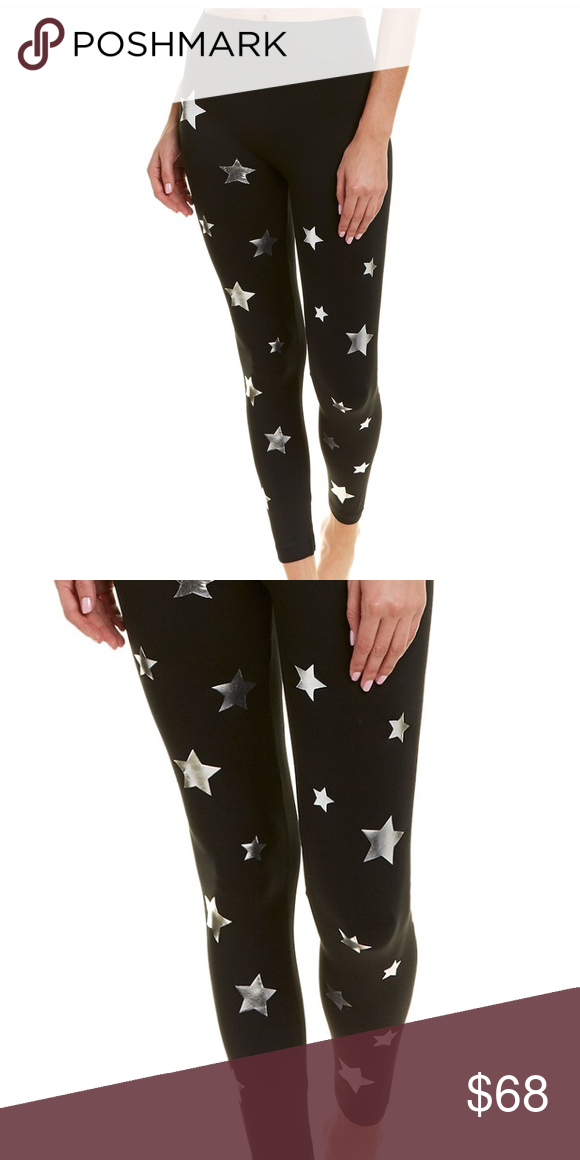 """d92db31c7a3c4 Electric Yoga Dazzling Star Leggings Inseam: approximately 28"""", elasticized  waist band, fleece lined. 90% polyester, 10% spandex Hand wash Black and  silver ..."""