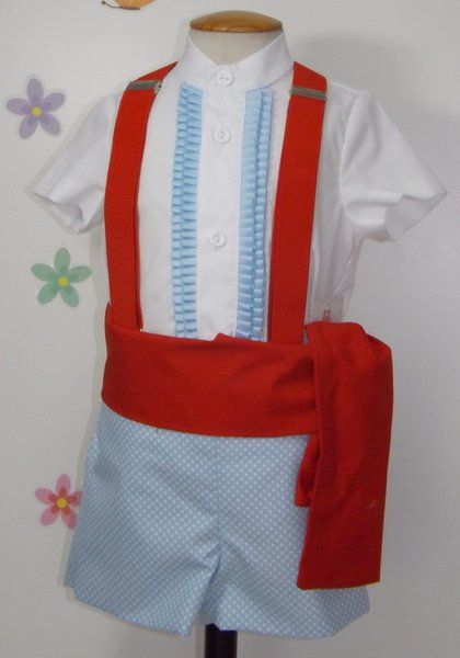 2bbde56eb Traje de gitano flamenco para niño compuesto de pantalón en popelín celeste  blanco con lunar pequeño