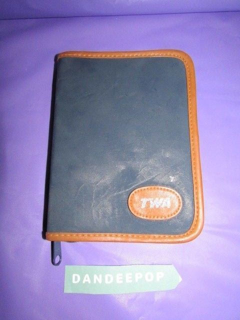 TWA Airline First Class Folio Calculator Pen Pencil In Blue  Tan