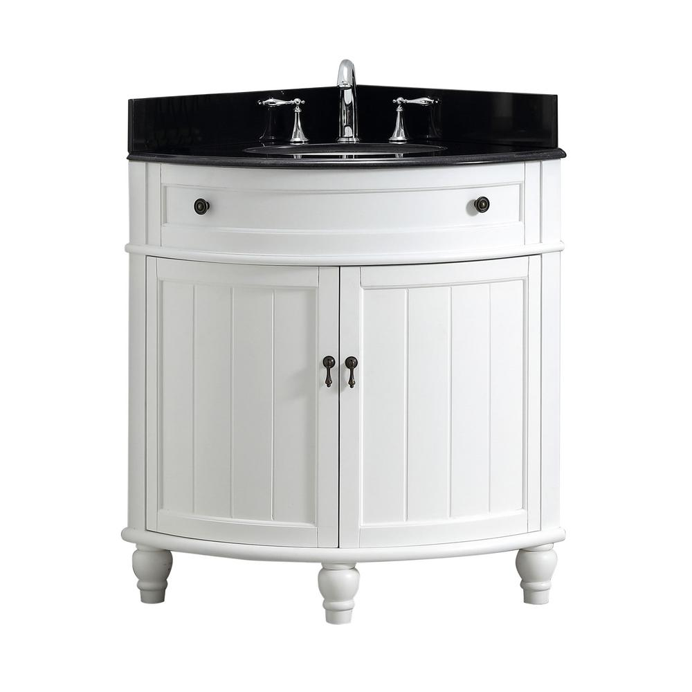 Modetti Angolo 34 In W X 24 In D Bath Vanity In White With Marble Vanity Top In Black With White Basin Mod47533wh The Home Depot Single Bathroom Vanity Bathroom Sink Black bathroom vanity with top