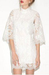 Stylish Stand-Up Collar 3/4 Sleeve Pure Color Lace Women's Dress