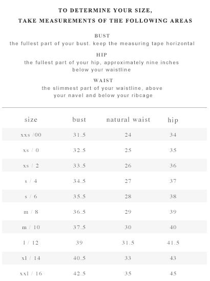 Kate spade clothing size chart personal womens issues lingerie